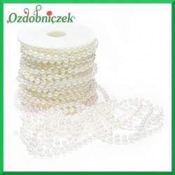 Perełki na sznurku 6 mm białe 20mb  ROLKA