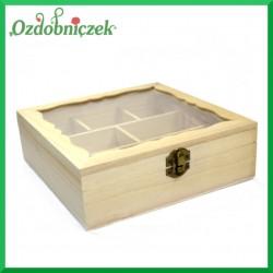 Pudełko ze sklejki na 8 przegród z szybką plexi 20x20x6,5cm