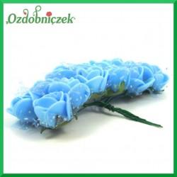 Różyczki błękitne z pianki i tiulem 2cm / 12szt