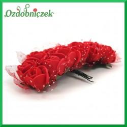 Różyczki czerwone z pianki i tiulem 2cm / 12szt