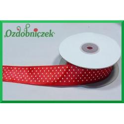 Tasiemka satynowa w kropki 12mm czerwona/1mb