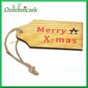 Zawieszka ze sklejki Merry Xmas 4,5cmx8cm 1szt.