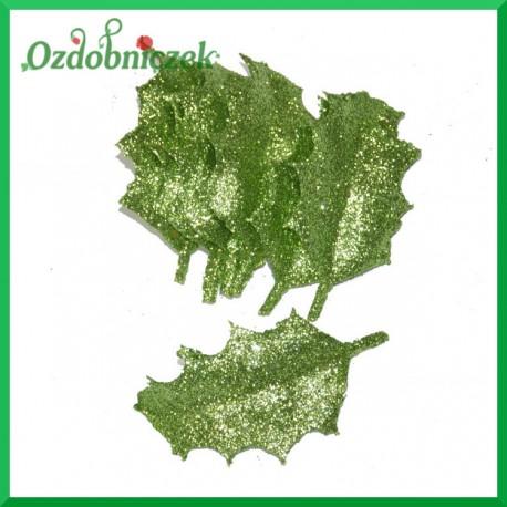 Małe liście brokatowe ZIELONE pudeko 12szt.