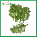 Małe liście brokatowe ZIELONE pudełko 12szt.