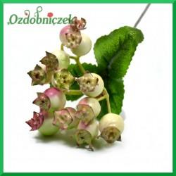 Dzika róża - gałązka kremowo-różowa z listkami 23cm