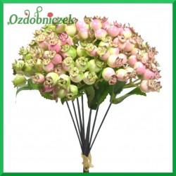 Dzika róża - gałązka kremowo-różowa z listkami 23cm  BUKIET 10szt.