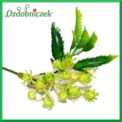 Kremowo-zielona gałązka ozdobna z listkami 32cm