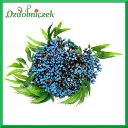 Niebieska gałązka ozdobna z listkami 25cm 1szt.
