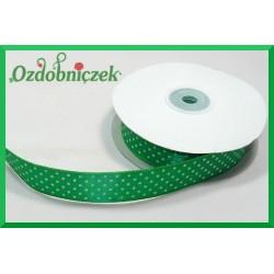 Wstążka tasiemka satynowa w kropki 12mm zielona/22mb