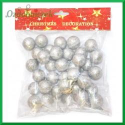 Kulki brokatowe srebrne 30 mm  ok 37 szt.