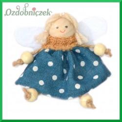 Aniołki w sukienkach niebieskiej i beżowej- zestaw zawieszek 2szt/9cm