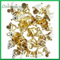 ZŁOTE metalowe DZWONECZKI 30szt MIX dzwonków