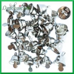 SREBRNE metalowe DZWONECZKI 30szt MIX dzwonków