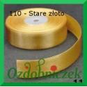 Wstążka satynowa, tasiemka 25mm stare złoto 110 SZTYWNA