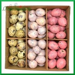 Jajka przepiórcze wydmuszki - zestaw 3 kolorów ( jasnoróżowe, ciemnoróżowe i naturalne ) pudełko 72szt.