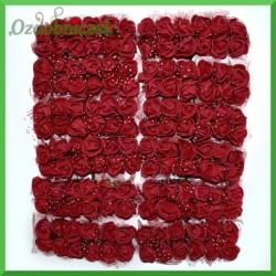 BORDOWE różyczki Z PIANKI Z TIULEM 2cm 144 SZT ZESTAW