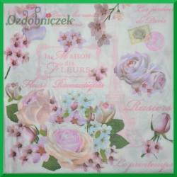 Serwetka do decoupage -pastelowe róże