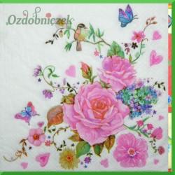 Serwetka do decoupage - duże róże i motylki