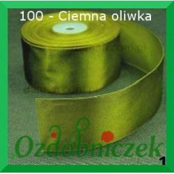 Tasiemka satynowa 25mm ciemna oliwka 100 SZTYWNA