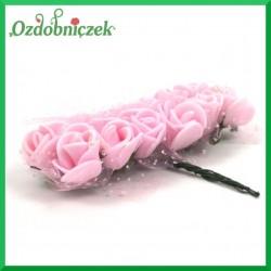 RÓŻOWE różyczki Z PIANKI Z TIULEM 2cm 12szt.