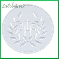Aplikacja IHS biała z białym haftem 1szt.