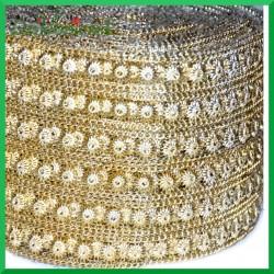 Taśma diamentowa złote słoneczka i łańcuszek 11,5cm/0,5mb