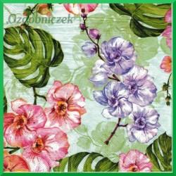 Serwetka do decoupage -  liście philo i kwiaty