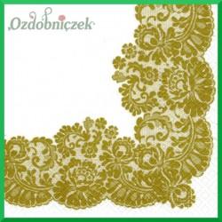 Serwetka do decoupage - koronka złota