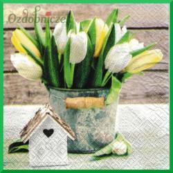 Serwetka do decoupage - tulipany w wiaderku