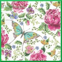 Serwetka do decoupage - motyl i kwiaty