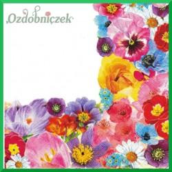 Serwetka do decoupage - bratki róże tulipany