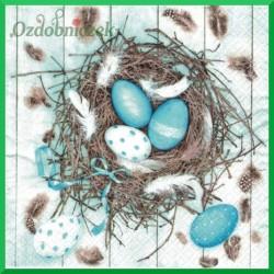 Serwetka do decoupage - turkusowe pisanki w gniazdku