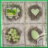 Serwetka do decoupage - pistacjowe serce kwiaty pisanka