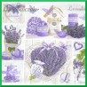 Serwetka do decoupage - kwiat lawendy serce lawenda doniczka