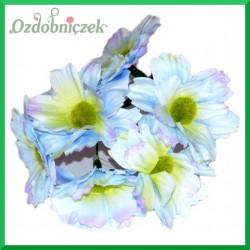 DUŻE niebieskie kwiatki materiałowe na druciku 5cm/6szt.