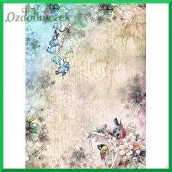 Papier ryżowy A4 - R1386 dwa kolory ptaszków