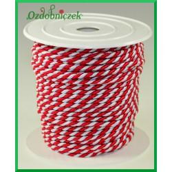 Sznurek oplatany 3,2mm ROLKA 25mb biało-czerwony