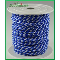 Sznurek oplatany 3,2mm ROLKA 25mb biało-niebieski