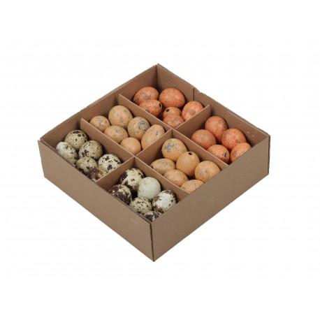 Jajka przepiórcze wydmuszki - zestaw 3 kolorów ( rude jasne pomarańczowe naturalne ) pudełko 72szt.