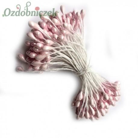 Pręciki, ryżyki - perełki na sznurku dwustronne JASNY RÓŻ 3mm/100szt.
