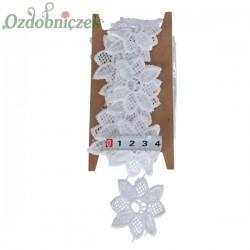 Koronka bawełniana biała duże kwiatki KRP12 5cm/1mb