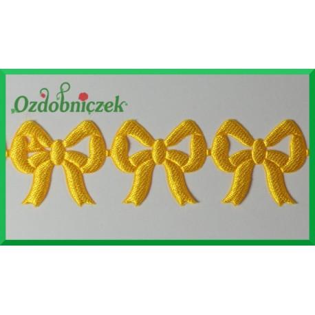 Aplikacje kokardki ażurowe żółte