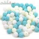 Koraliki perłowe jeżynki 10mm / 60szt 3 KOLORY - białe ecru turkus
