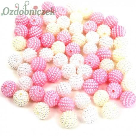 Koraliki perłowe jeżynki 10mm / 60szt 3 KOLORY - białe ecru jasny róż