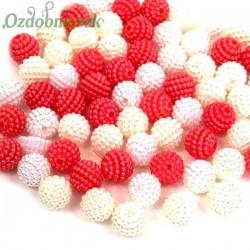 Koraliki perłowe jeżynki 10mm / 60szt 3 KOLORY - białe ecru koral