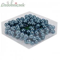 Bombki szklane na druciku błyszczące SZARONIEBIESKIE 2cm/36 szt
