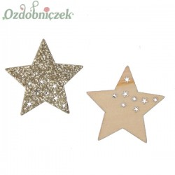 Drewniane brokatowe gwiazdki ZŁOTE 3,5cm/24szt.