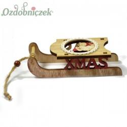 Drewniane sanki X-mas Mikołaj z Misiem 14cm