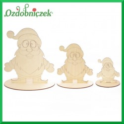 Zestaw 3 szt Mikołajów ze sklejki na podstawce