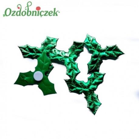Liść ostrokrzewu ZIELONY metalizowany - aplikacja na przylepcu 4,5cm/20szt.
